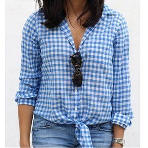 J. Crew Blue Gingham Tie Front Button Down Top